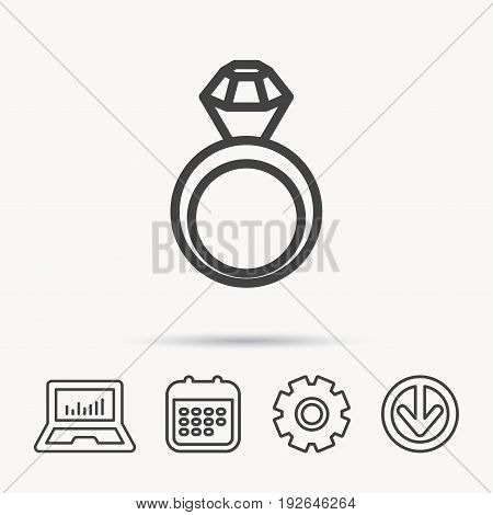 Engagement ring icon. Jewellery with diamond sign. Notebook, Calendar and Cogwheel signs. Download arrow web icon. Vector