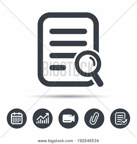 File search icon. Document page with magnifier tool symbol. Calendar, chart and checklist signs. Video camera and attach clip web icons. Vector