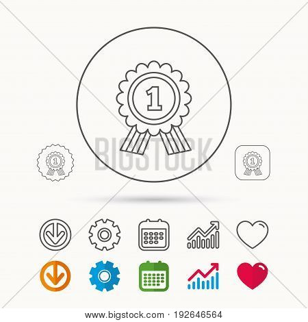 Gold medal award icon. First place sign. Winner symbol. Calendar, Graph chart and Cogwheel signs. Download and Heart love linear web icons. Vector