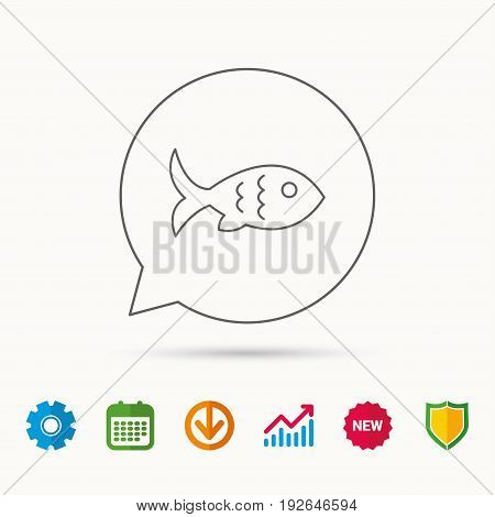 Fish with fin and scales icon. Seafood sign. Vegetarian food symbol. Calendar, Graph chart and Cogwheel signs. Download and Shield web icons. Vector
