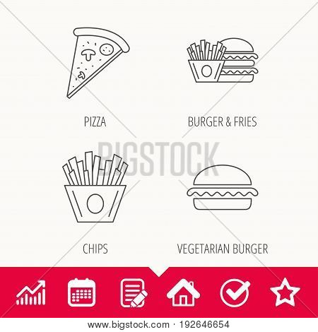 Burger, pizza and chips fries icons. Fast food linear signs. Edit document, Calendar and Graph chart signs. Star, Check and House web icons. Vector