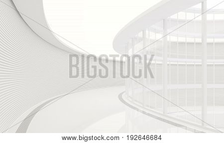 Empty white room modern space interior 3d rendering image.Corridors in curved buildings are decorated in white tones. Wall decoration with horizontal lines And curtain wall