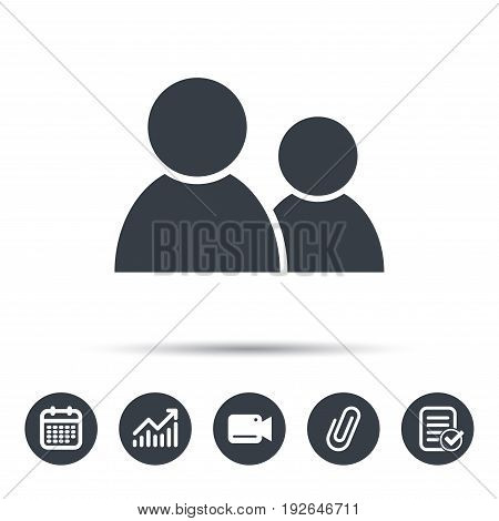 Friends icon. Group of people sign. Communication symbol. Calendar, chart and checklist signs. Video camera and attach clip web icons. Vector