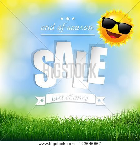Nature Background With Grass Border And Text