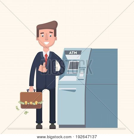 A man stands near an ATM and collects cash. Vector illustration in a flat style.