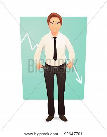 Businessman showing his empty pants pockets. Bankrupt turning empty pockets inside out. Vector illustration.