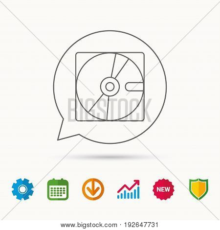 Harddisk icon. Hard drive storage sign. Calendar, Graph chart and Cogwheel signs. Download and Shield web icons. Vector