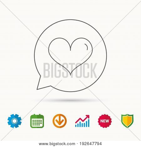 Heart icon. Love sign. Life symbol. Calendar, Graph chart and Cogwheel signs. Download and Shield web icons. Vector
