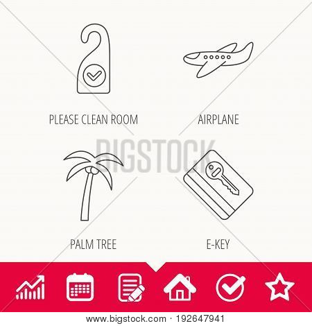 Palm tree, air-plane and e-key icons. Clean room linear sign. Edit document, Calendar and Graph chart signs. Star, Check and House web icons. Vector