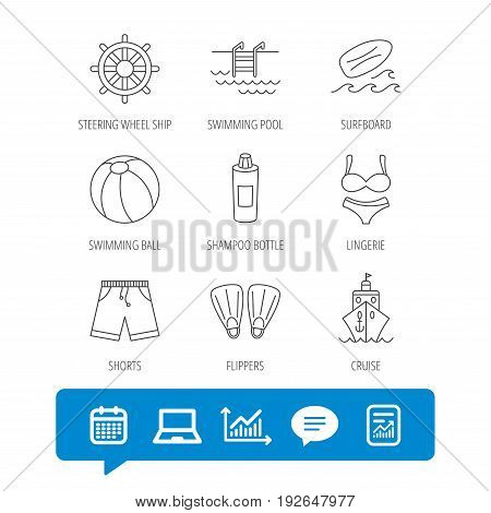 Surfboard, swimming pool and trunks icons. Beach ball, lingerie and shorts linear signs. Flippers, cruise ship and shampoo icons. Report file, Graph chart and Chat speech bubble signs. Vector