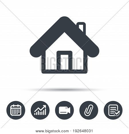 Home icon. House building symbol. Real estate construction. Calendar, chart and checklist signs. Video camera and attach clip web icons. Vector