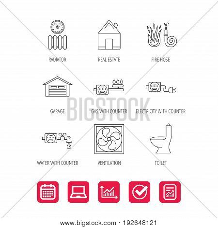 Ventilation, garage and heat radiator icons. Gas, water and electricity counter linear signs. Real estate, toilet and fire hose icons. Report document, Graph chart and Calendar signs. Vector
