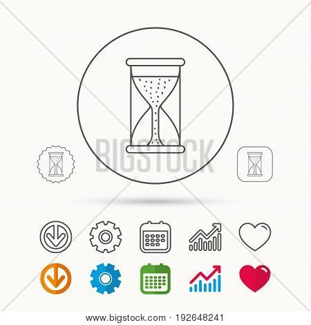 Hourglass icon. Sand time starting sign. Calendar, Graph chart and Cogwheel signs. Download and Heart love linear web icons. Vector