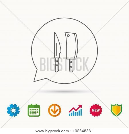 Butcher and kitchen knives icon. Chef tools symbol. Calendar, Graph chart and Cogwheel signs. Download and Shield web icons. Vector