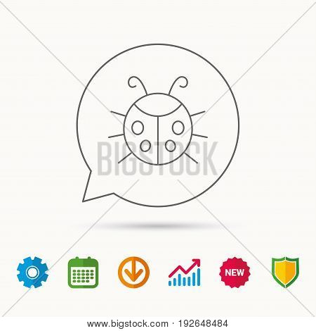 Ladybug icon. Ladybird insect sign. Flying beetle bug symbol. Calendar, Graph chart and Cogwheel signs. Download and Shield web icons. Vector
