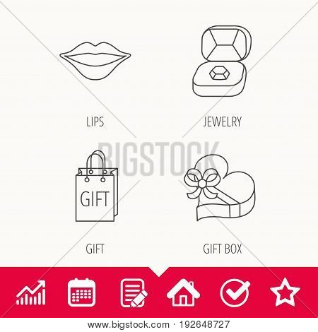 Gift box, lips kiss and wedding jewelry icons. Present linear sign. Edit document, Calendar and Graph chart signs. Star, Check and House web icons. Vector