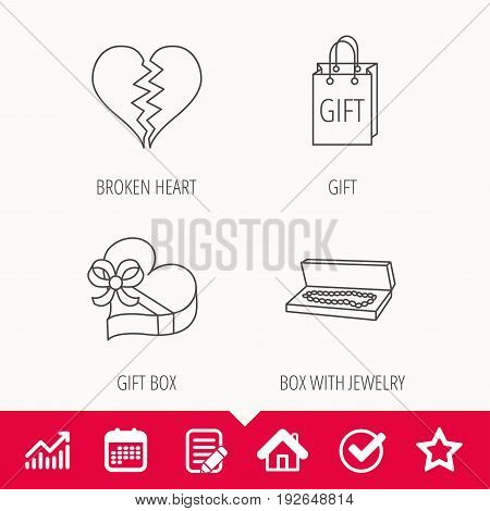 Broken heart, gift box and wedding jewelry icons. Box with jewelry linear sign. Edit document, Calendar and Graph chart signs. Star, Check and House web icons. Vector