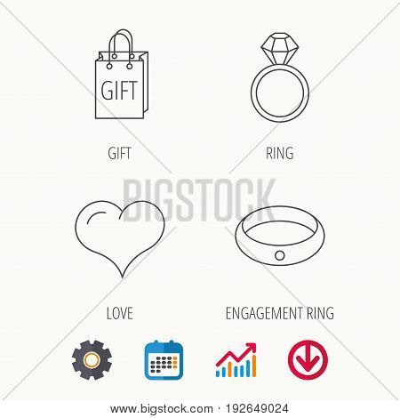 Love heart, gift bag and wedding ring icons. Engagement ring linear sign. Calendar, Graph chart and Cogwheel signs. Download colored web icon. Vector