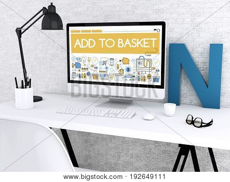 3D Computer With Word Add To Basket.