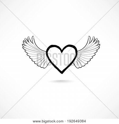 Lost love sign. Love heart with wings. Valentine day icon