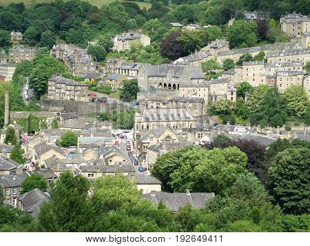 view of the west yorkshire town of hebden bridge