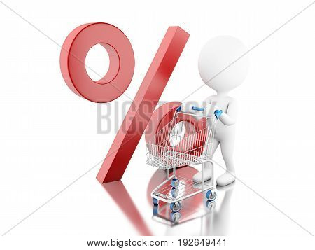 3D White People With Percentage Symbol.