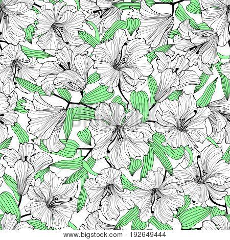 Floral ornamental seamless pattern. Summer flower lily background. Spring garden lilies flourish decor