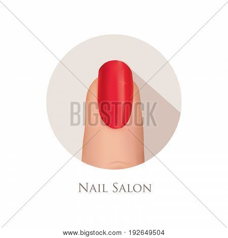 Nail polished finger sign. Nail beauty salon icon. Manicure nails