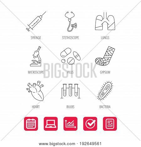 Broken foot, lungs and syringe icons. Stethoscope, pills and microscope linear signs. Bacteria, heart and lab bulbs flat line icons. Report document, Graph chart and Calendar signs. Vector