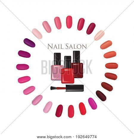 Nail beauty salon background. Nail palette set. Colorful manicure nails settled in a circle and nail polish bottle sign.