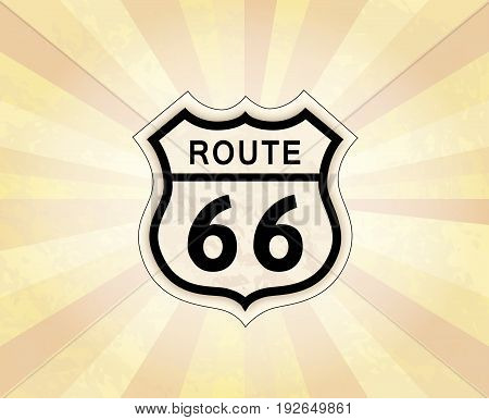 Route 66 sign. American road icon. Travel USA retro background.