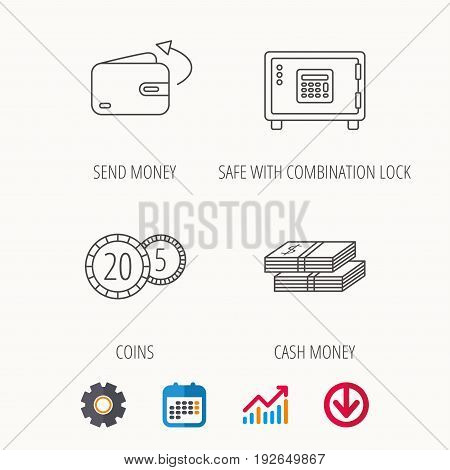 Coins, cash money and wallet icons. Safe box, send money linear signs. Calendar, Graph chart and Cogwheel signs. Download colored web icon. Vector