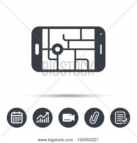 Gps street navigation icon. Smartphone device symbol. Pokemon egg concept. Calendar, chart and checklist signs. Video camera and attach clip web icons. Vector