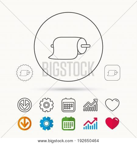 Paper towels icon. Kitchen hygiene sign. Calendar, Graph chart and Cogwheel signs. Download and Heart love linear web icons. Vector