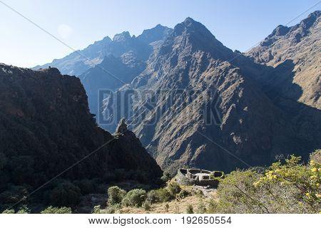 Inca Ruins at Runkurakay and the dead woman's pass at Inca Trail, Peru