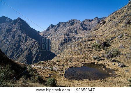 The reflecting pond and the Dead Woman's Pass along the Inca Trail, Peru