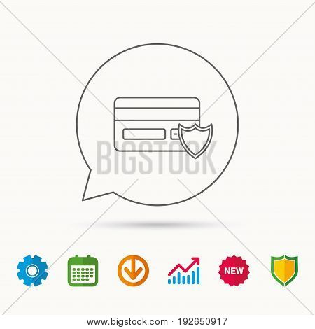 Protection credit card icon. Shopping sign. Calendar, Graph chart and Cogwheel signs. Download and Shield web icons. Vector