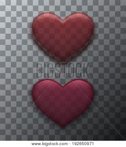 Vector modern red valentines day background. Heart icon for design
