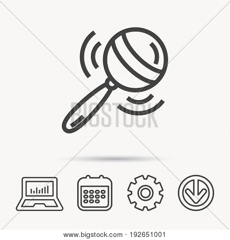 Baby rattle icon. Toddler toy sign. Child fun ball symbol. Notebook, Calendar and Cogwheel signs. Download arrow web icon. Vector