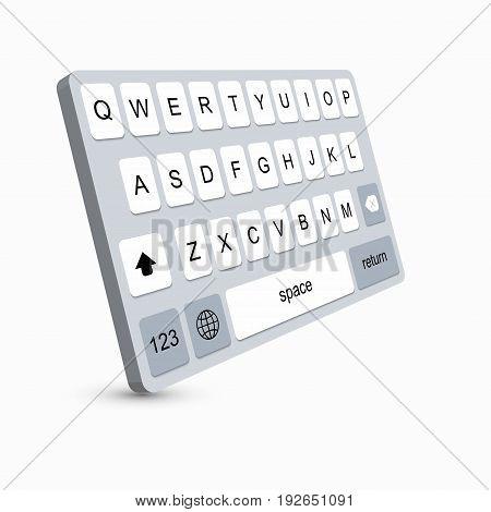 vector modern keyboard of smartphone, alphabet buttons