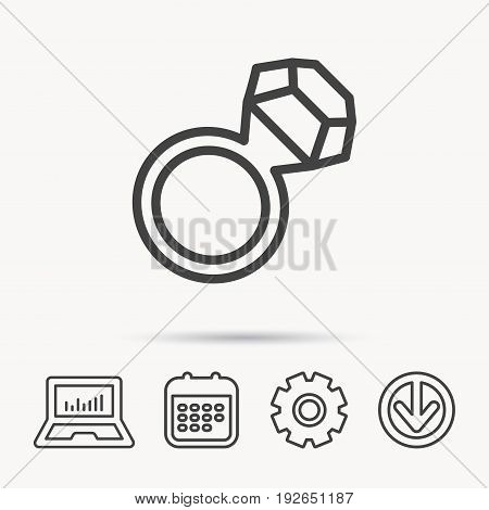 Ring with diamond icon. Jewellery sign. Notebook, Calendar and Cogwheel signs. Download arrow web icon. Vector