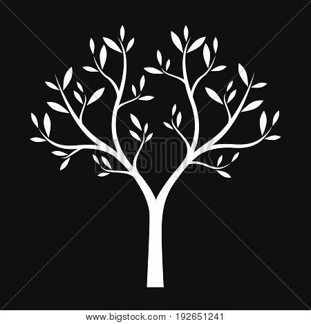 White Tree om black background. Vector Illustration.