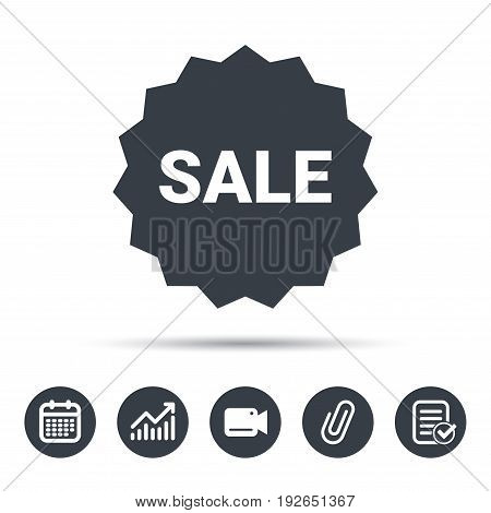 Sale icon. Special offer star symbol. Calendar, chart and checklist signs. Video camera and attach clip web icons. Vector