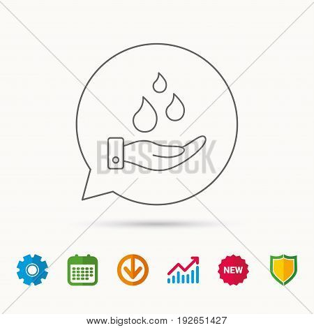 Save water icon. Hand with water drops sign. Ecology environment symbol. Calendar, Graph chart and Cogwheel signs. Download and Shield web icons. Vector