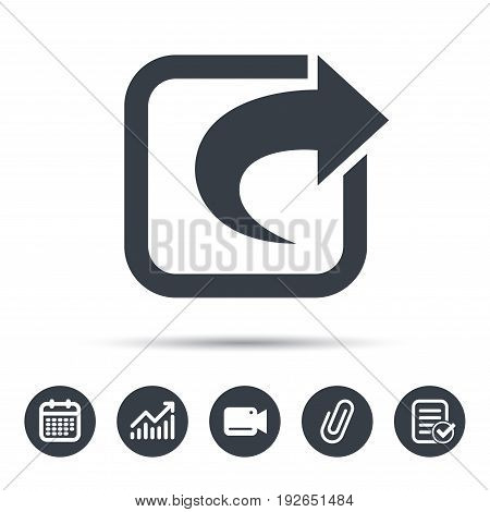 Share icon. Send social media information symbol. Calendar, chart and checklist signs. Video camera and attach clip web icons. Vector