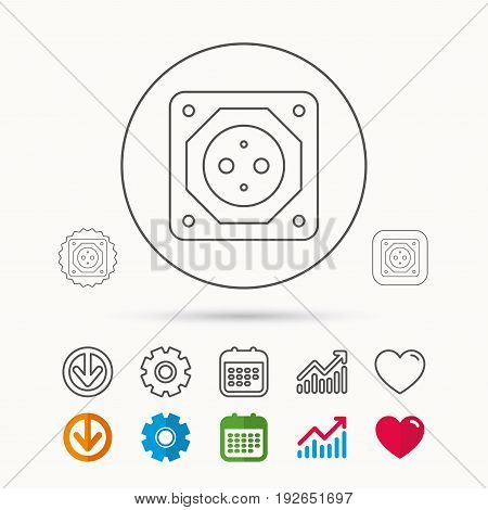 European socket icon. Electricity power adapter sign. Calendar, Graph chart and Cogwheel signs. Download and Heart love linear web icons. Vector