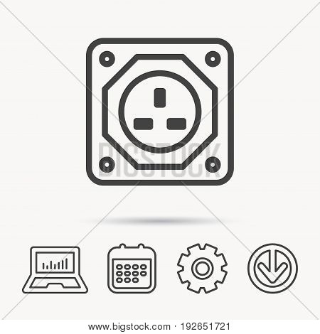UK socket icon. Electricity power adapter sign. Notebook, Calendar and Cogwheel signs. Download arrow web icon. Vector