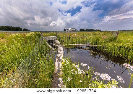 Wet Wildlife Crossing Culvert Underpass With Gangplank