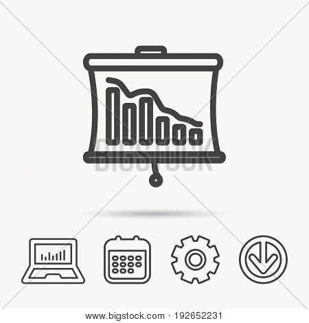 Statistic icon. Presentation board sign. Defaulted chart symbol. Notebook, Calendar and Cogwheel signs. Download arrow web icon. Vector