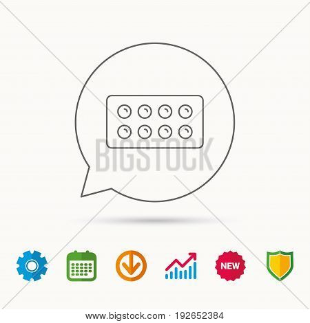Tablets icon. Medical pills sign. Painkiller drugs symbol. Calendar, Graph chart and Cogwheel signs. Download and Shield web icons. Vector